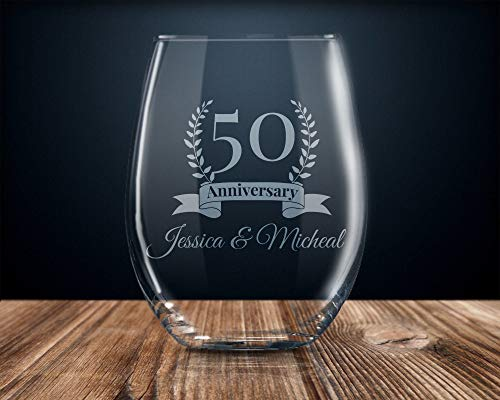DKISEE 50 jaar verjaardag wijnglas, 50e verjaardag wijnglas, gepersonaliseerde verjaardag wijnglas 11oz