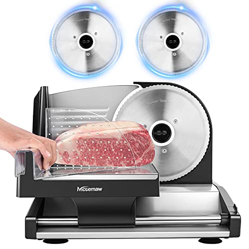 Nictemaw Meat Slicer, 200W Electric Deli Food Slicer, Adjustable Thickness Food Slicer with Stainless Steel Blade, for Home Use, Easy To Clean, Black