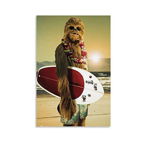 Chewbacca Surfen Poster auf Leinwand, Kunst-Poster und Wand-Kunstdruck, modernes Familienschlafzimmerdekor, 60 x 90 cm