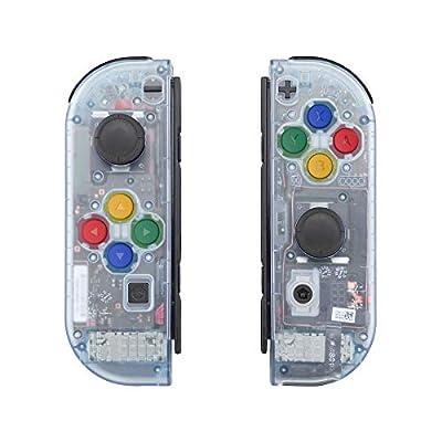 eXtremeRate Carcasa Semitransparente para Joy-con de Nintendo Switch Botones Funda Case de Agarre Joycon Shell con Botón Completo para Nintendo Switch-No Incluye Carcasa de Consola(Hielo Azul)