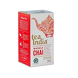 4 boxes x 40 teabags (160 teabags total / 160 servings) Tea India MASALA CHAI biodegradable teabags – Rainforest Alliance Certified Tea. AUTHENTIC chai tea made from a blend of Assam black tea, cinnamon, cloves and anise for a distinctive Indian chai...