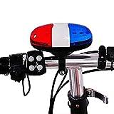 Lai-LYQ Campana De Bicicleta para Adultos Niños, 6LED 4 Tone Horn Campana De Bicicleta Campanas De Seguridad Advertencia Luz LED Sirena Electrónica para Bicicleta De Montaña, Bicicleta para Niños