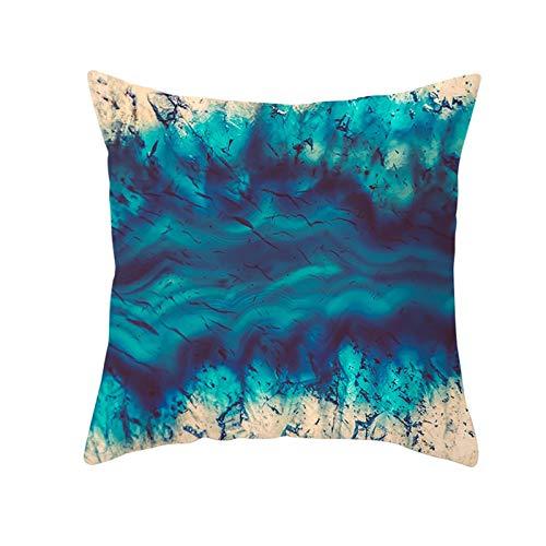 KnBoB Funda de Almohada Azul Pájaros Pintura Tinta Abstracta 50 x 50 cm Poliéster Estilo 24