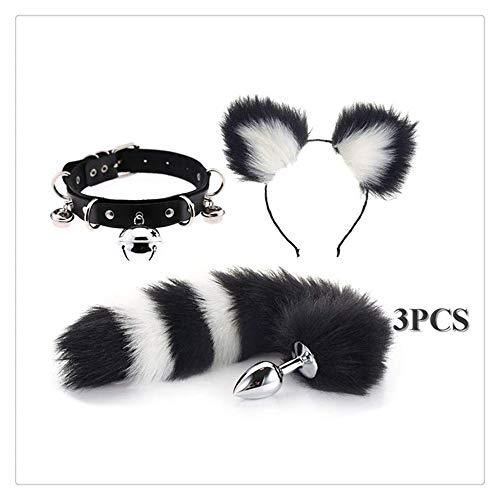 Neueste flauschigen plüsch edelstahl fuchsschwanz plug & cat ohren stirnband mit glocke kragen choker cosplay set 3 stücke (black & white , m)