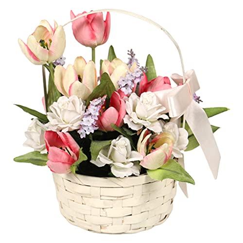 MagiDeal Ramos de tulipán Artificial con cesta de bambú flores de tulipán falsas decoración para mesa en casa oficina boda - Rosa