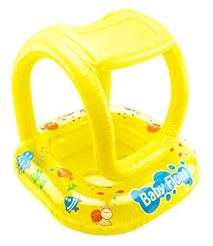 VAPIAO Kinder Schwimmring Schwimmreifen mit Sonnenschutz Schlauchboot Schwimm Lernboot Gummiboot ideal für das Schwimmbad, Strand, Urlaub, See oder Pool in gelb