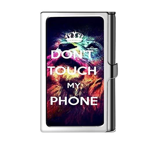 Astillero de tarjeta de presentación Design Design, caja de crédito con nombre de monedero de acero inoxidable para hombres y mujeres: no toque mi teléfono