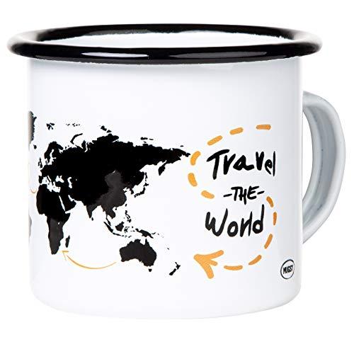 Travel the World | Hochwertiger Emaille Becher mit Weltkarte Motiv | Where to Next? | leicht und robust | für Reisen, Vanlife, Trekking und Globetrotter | Worldmap | von MUGSY.de