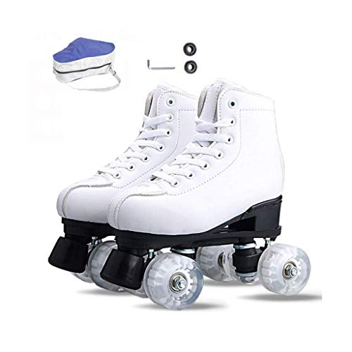 Taoke Skates, Erwachsene Anfänger zweireihig Roller Skates Retro Hohe Stiefel Four Wheel Roller Skates Damen-Weiß-Roller Skates (Farbe: weiß, Größe: 44 EU) dongdong (Color : White, Size : 44 EU)