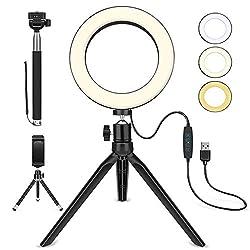 """LED Ringlicht, 6"""" Ringleuchte mit Stativ, Selfie Licht mit Handyhalterung, 3 dimmbare Lichtmodi und 10 Helligkeitsstufen, für Selfie, Vlog, Live-Stream, YouTube und Videoaufnahme"""