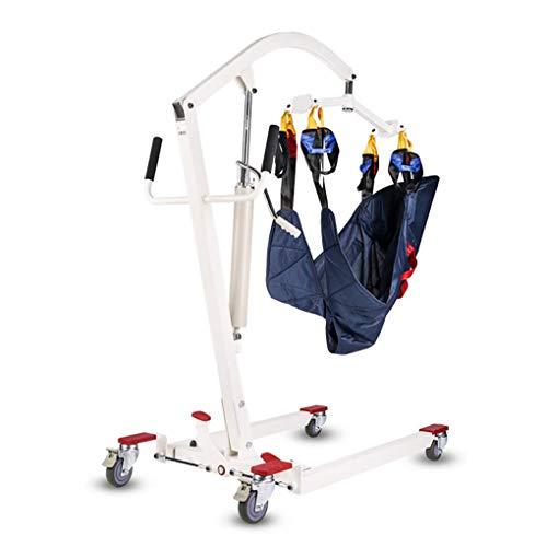 YXP Faltbarer hydraulischer Patientenlifter mit Übergabeschlaufe, Patienten-Transporteinheit mit Standunterstützung, niedrige Basis, Tragfähigkeit von 400 Pfund, für ältere Menschen mit Behinderungen