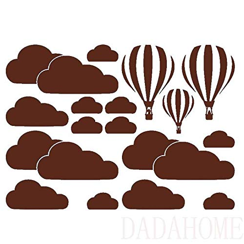 Stickers Muraux White Cloud Montgolfières Stickers Muraux Chambre Enfants Art Fond Stickers Muraux Accueil Décoration Salon Stickers Mural (Color : Brown)
