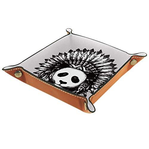 rodde Bandeja de Valet Cuero para Hombres - Panda Lindo con Tatuaje Indio - Caja de Almacenamiento Escritorio o Aparador Organizador,Captura para Llaves,Teléfono,Billetera,Moneda