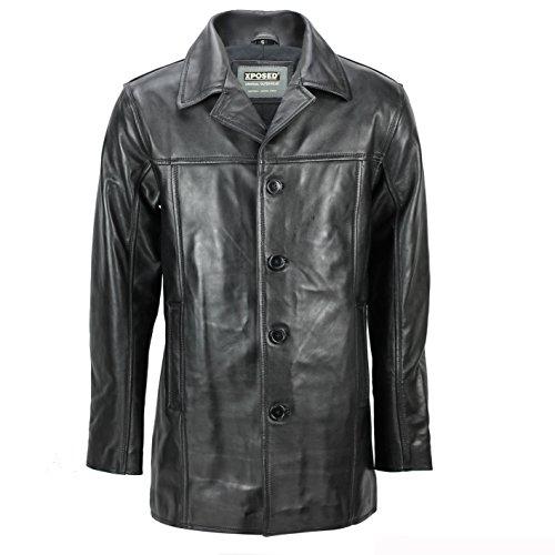 Xposed Abrigo de piel auténtica para hombre, de longitud media 3/4, estilo vintage, informal, color negro
