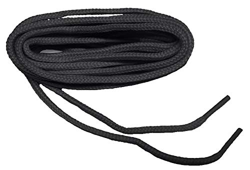 GREATLACES (2 Pair Pack) Rugged Heavy Duty Round 4mm Thick Boot Laces Shoelaces shoestrings (42 Inch 107 cm, Coal Black)