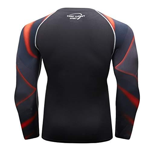 Herren Kompressions-Shirt langärmlig Funktionsshirts Fitness Baselayer Langarm Sport Longsleeve Shirt Top Bluse Slim Fit,17style - 3