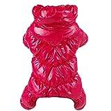 FSD-MJ - Abrigo de Invierno para Mascotas, Chaqueta de plumón para Perro, 4 Patas, Grueso, Suave, cálido, Ultraligero, Ropa de Moda para Cachorros y Mascotas, Color Rojo