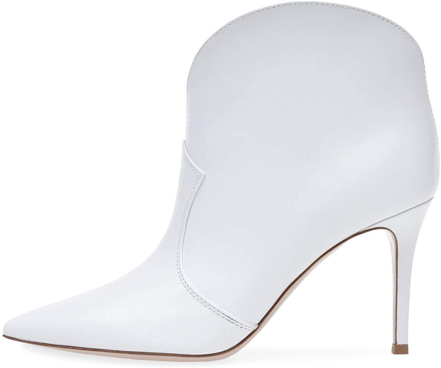 Women's Booties, White Pointed High Heel Ankle Boots Women's PU Rubber Stiletto Heel Fashion Boots & Martin Boots (color   White, Size   40)