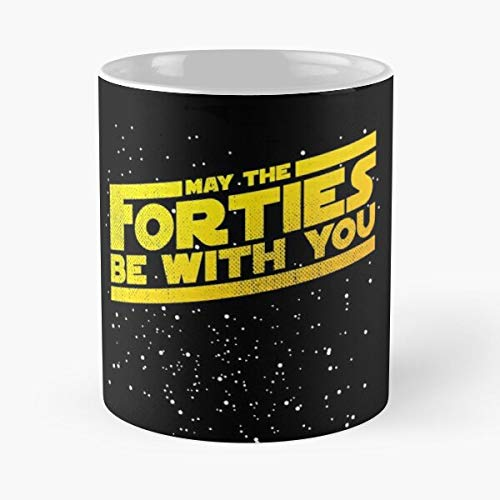 May The Forties Be With You Vintage 40th Birthday Distressed Star Illustration Classic Mug - 11 Ounce For Coffee, Tea, Cocoa And Mulled Drinks, The Best Gift Holidays Aguda