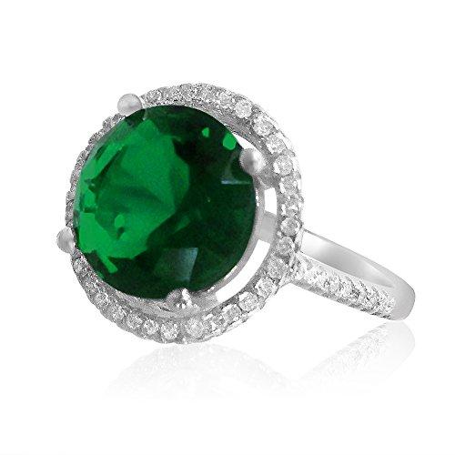 Velini, meine Damen Ring r3059, 925Sterling Silber, Micro Pavé-Fassung, Qualität AAA Cubic Zirkonia Steine mit Grün bunten Glas Stein