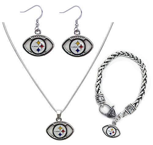 3 PCS Silver Jewelry, a Set of Silver Jewelry, Including Necklaces, Bracelets, Earrings, Silver Accessories with NFL Pittsburgh Steelers Logo, to Meet Your Pursuit of Beauty and Fashion (Pittsburgh Steelers)
