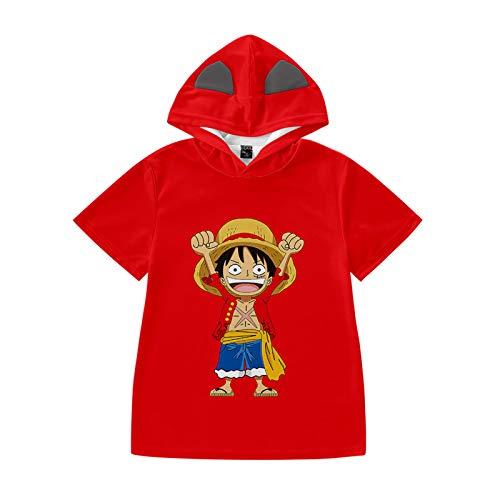One Piece Kinder T-Shirts Japanische Anime 3D Tee Tops Sommer Unisex Cosplay Hemd Lose Rundhals Kurzarm Hoodie für Jungen Mädchen Luffy Chopper Zoro Nami Sanji Whitebeard-D,100