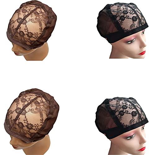 MQW Perruques Caps Caps Brown Blanc Pack Capuchon de Cheveux pour Une Perruque Avant en Dentelle Fabriquer des Filets de Weave pour Coudre Casquette de Crochet pour Cheveux au Crochet,Noir