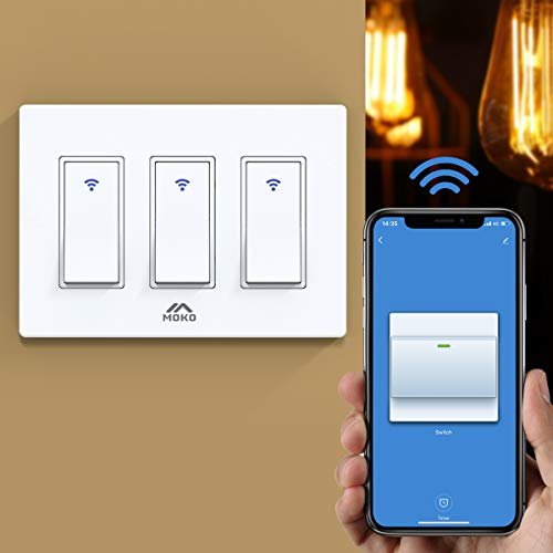 MoKo Smart Switch 3 Gang WiFi Light Switch with Remote Control and Timer Schedule Compatible with Alexa Echo Google Home and Neutral Wire Required Easy Installation Only Supports 24GHz