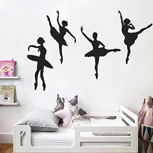 Kreative Ballett Mädchen Tanz bewegt sich Tanzstudio Raumdekoration Vinyl Wandaufkleber Cartoon Kombination Kunst Aufkleber Poster Schlafzimmer Geschenk