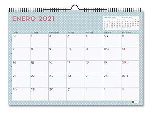 MIQUELRIUS - Calendario de Pared 2021 Lovely Con Adhesivos - Español, A3 420 x 296 mm con espacio para escribir y apuntar, Color Pastel Azul