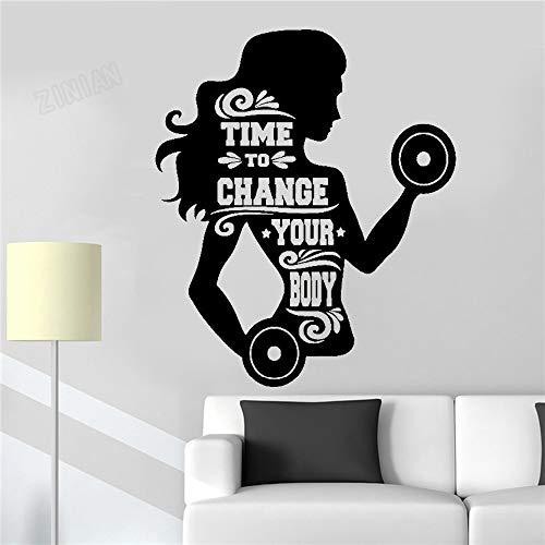Fitness para mujer, pesas, hora de cambiar su cuerpo, etiqueta de la pared, gimnasio, dormitorio deportivo, decoración del hogar, vinilo, calcomanía de pared, arte, mural, póster