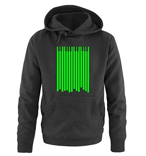 Comedy Shirts Klavier - Herren Hoodie - Schwarz/Neongrün Gr. XXL