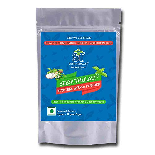 Seeni thulasi Natural Stevia powder | For Sweetening your hot and cold beverages | Suitable for making Indian Sweets [ Enzymatically Non- Modified ] Free from Erythritol, Dextrose, Maltodextrin, Aspartame, Acesulfame Potassium, Saccharine, Sucralose(250gms)