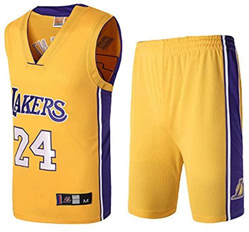 xzl Ropa de Baloncesto de la NBA para niños, niños, los Lakers Kobe Bryant 24 Bordado Jersey Baloncesto Trajes de Baloncesto Summer Jersey Set Sports Traje, Yellow - M