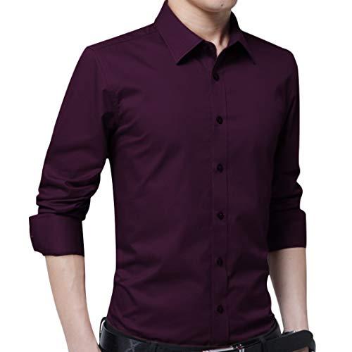 Irypulse Camisa de Hombres Corte Cuello Camisa de Planchado sin Arrugas Manga Larga clásico Slim Fit Seda de algodón Elástica Casual Formal Negocio para Hombre-Vino Rojo, 3XL