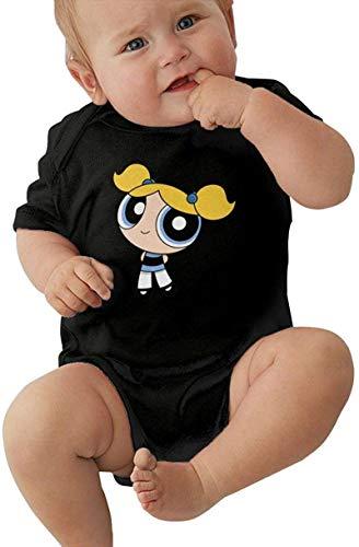 Powerpuff Girls Bubbles Baby Outfits Short Sleeve T-Shirt Bodysuit Romper Black