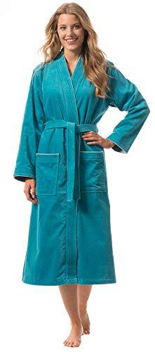 Morgenstern Bademantel für Damen aus Bio Baumwolle ohne Kapuze in Petrol Sauna Mantel wadenlang Sauna Bademantel Frottee Größe M Lotte