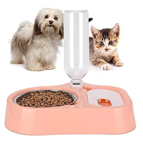 Atyhao Futterschalen für Haustiere, 2 in 1 Hundefutter Wasserschalen Automatische Katzen Wasserspender Tierfutterbehälter für Katzen Hunde Welpen(Rosa)