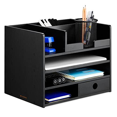 Navaris Organizador de escritorio de bambú - Accesorio de sobremesa con compartimentos - Caja para almacenaje de material de oficina 33 x 24 x 26 CM