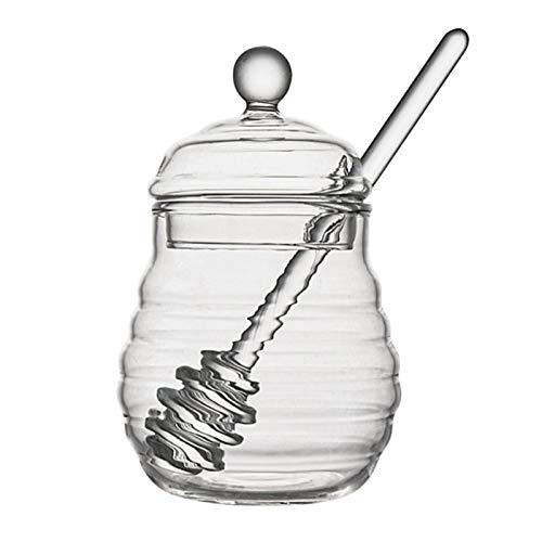 GTEFWZ Miel Transparent Pot De Miel en Forme De Ruche avec Goutteur Bâton pour Stocker Et Distribuer du Miel Sirop De Miel Kettle