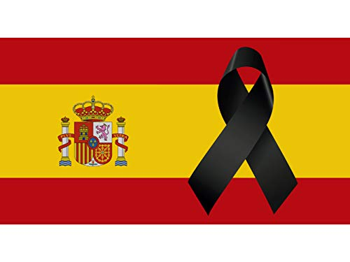 Oedim Bandera de España con Crespón | Medidas 85x150cm | Reforzada y con Pespuntes | Bandera de España con Crespón y 4 Ojales Metálicos | Resistente al Agua