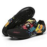 FDYZS Hombres y Mujeres Zapatos de Bicicleta con Cerradura Doble con Hebilla Zapatos de Bloqueo de montaña Suela Dura Zapatos de Deportes Zapatos de Ciclismo,Rosado,45