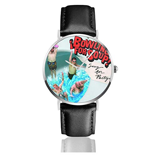Watch Bowling for Soup Entschuldigung für Partyin Band Fashion Business Casual Quarzwerk Lederarmband Armbanduhr