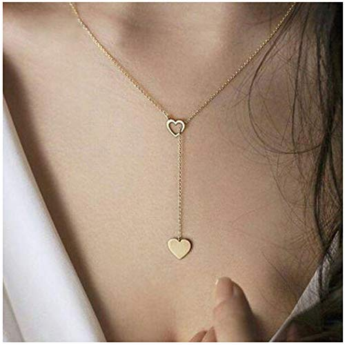 Olbye Gold Heart Necklace Choker Minimal Drop Necklace Jewelry for Women and Girls Simple Y Necklace (1 Layer)