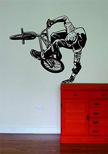 DKISEE Muursticker BMX Biker Sport Sticker Slaapkamer Woonkamer muur Vinyl Art Home Decor Tiener Kwekerij Sport Fiets Multi-Size en Multi-Color 24