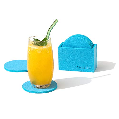 chillify Felt Coasters for Drinks with Coaster Holder - Non Slip Heat Resistant Washable Coaster Set of 8 - Round, Light Blue, 10 cm - Absorbent Non Stick Coasters for tables, cups, beer, garden, bar