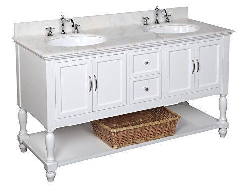 Big Sale Beverly 60-inch Bathroom Vanity (White/White): Includes a White Cabinet, Soft Close Drawers, a Marble Countertop, and Two Ceramic Sinks