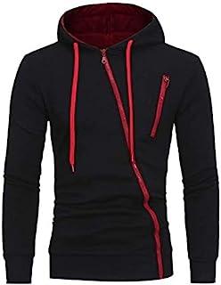 Men Casual Slim fit Hoodies Drawstring Oblique Zipper Cardigan Hooded Sweatshirt coat Tops black