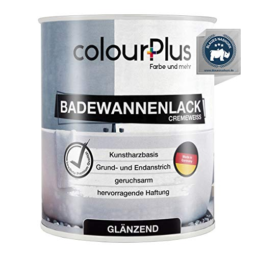 colourPlus® Badewannenlack (750ml, Cremeweiß) 1K - glänzender Badewannenlack weiß - Lack für Badewanne - Emaille Farbe - Badewannen Farbe - Made in Germany