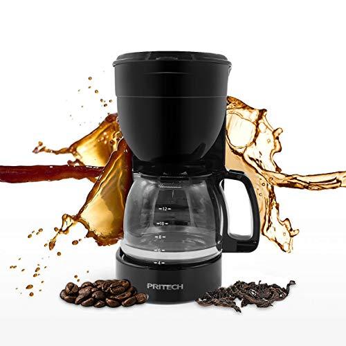 Cafetera de filtro con jarra de cristal, 800 W, 12 tazas, para café molido, soporte de filtro extraíble para el apagado automático del sistema antigoteo PRITECH